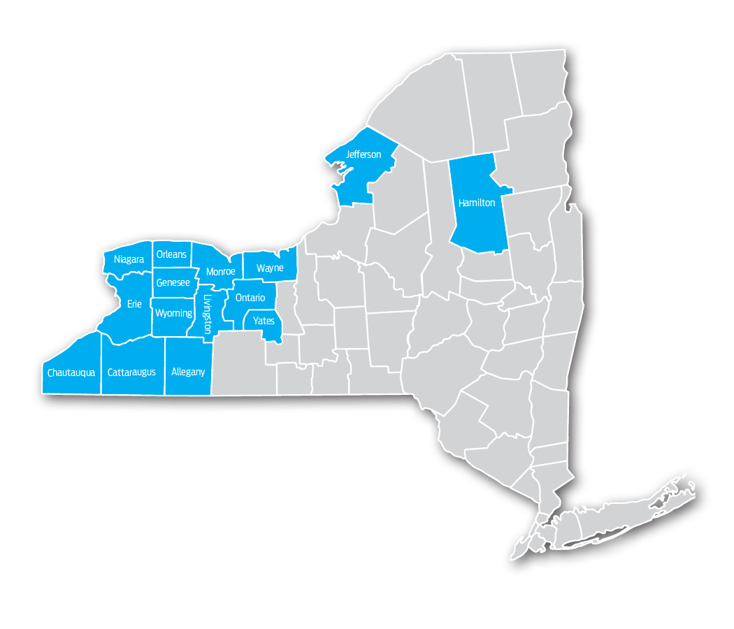 Map of New York with the counties Allegany, Cattaraugus, Chautauqua, Erie, Genesee, Hamilton, Jefferson, Livingston, Monroe, Niagara, Ontario, Orleans, Wayne, Wyoming and Yates highlighted.